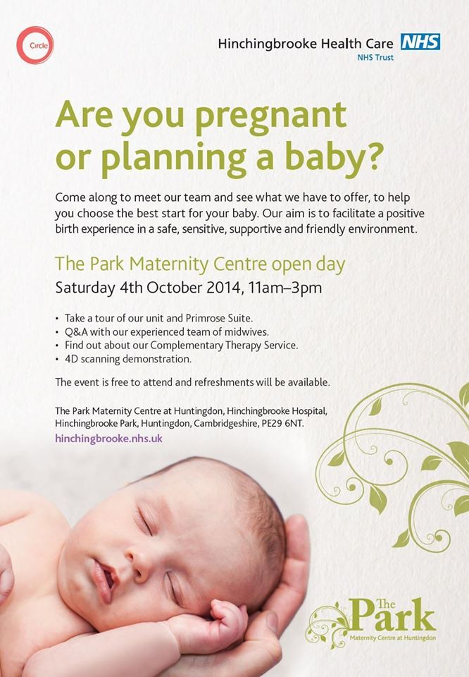 The Park Maternity Centre at Hinchingbrooke will be holding an open day on Saturday 4th October 2014 from 11am until 3pm