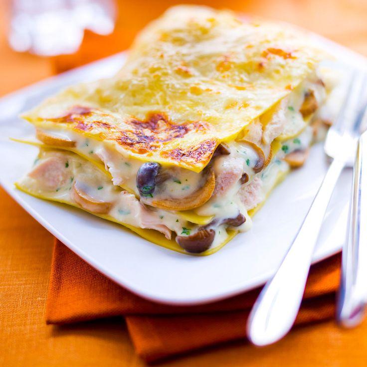 Découvrez la recette des lasagnes au poulet et aux champignons
