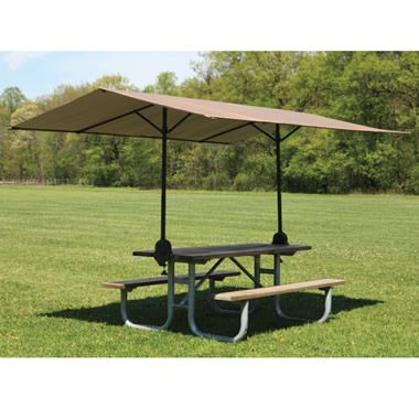 "A ""Clamp On"" canopy for your picnic table!  Really!!!!  So now you don't have to pull the awning over the table anymore.  You now you want this!  I do! #Camping #Outdoors"