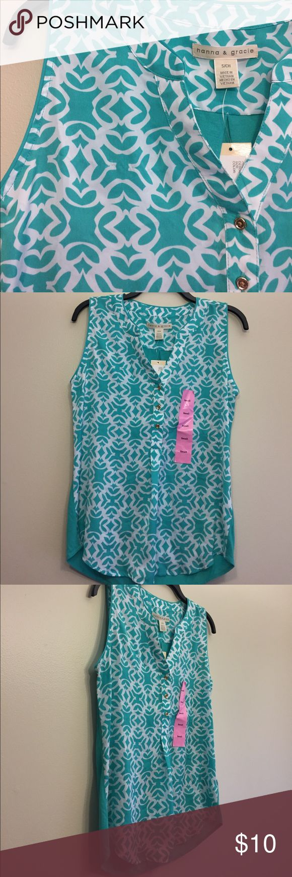 NWT Beautiful Hannah and Grace Teal Blouse Top S NWT never worn Beautiful Hannah and Grace Teal and white Blouse Top S. Comes from my pet free and smoke free home. Please check out my other listings! Thanks! Tops Blouses