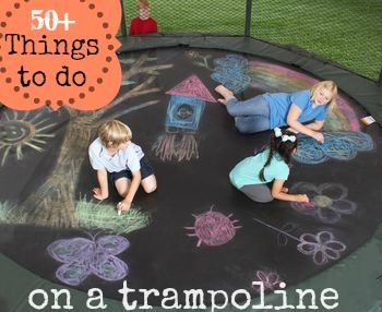 Things outside the box with these fun ideas. 50 things to do on a trampoline via Rave and Review