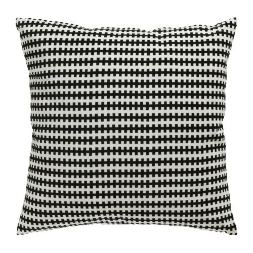 STOCKHOLM Cushion IKEA Cotton velvet gives depth to the color and is soft to the touch. STOCKHOLM Cushion, black/white $14.99