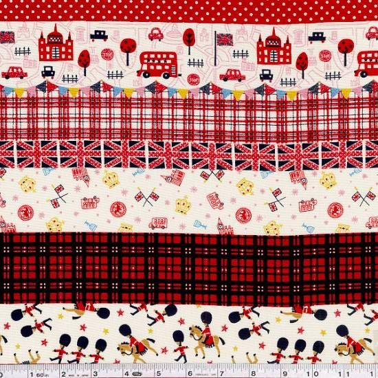 This festive stripe is a nod to all things British, with icons of England and coordinating graphic patterns. This print also features a bit of glittery sparkle here and there! This medium weight Japanese fabric is 100% cotton and is 43/44