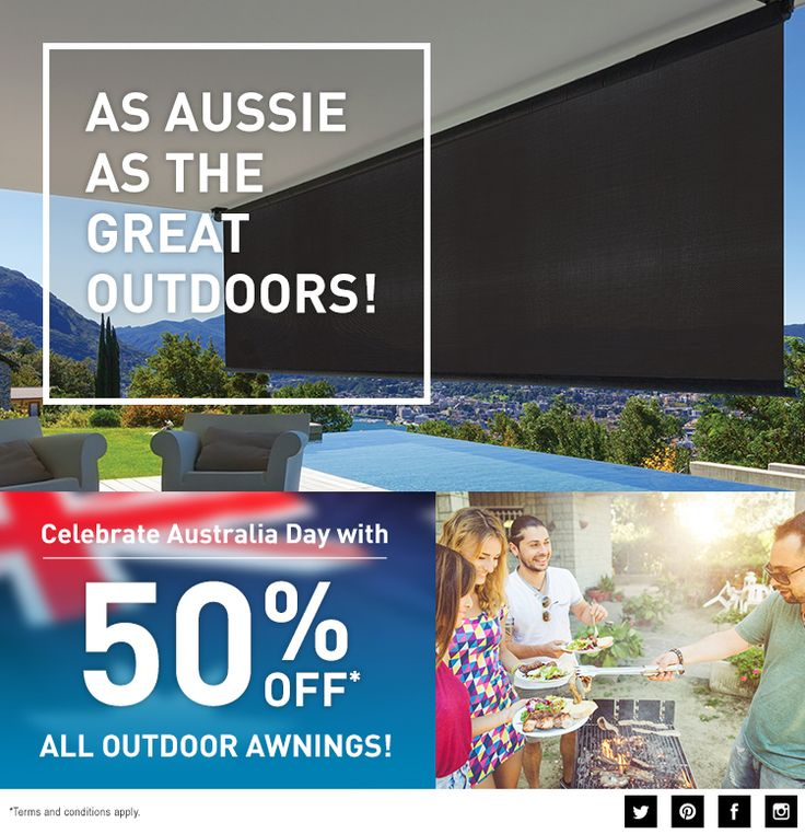 Happy Australia Day!   Australia Day is a great time to enjoy being outside and Kresta makes it easy – and a lot more comfortable….  Celebrate with 50% off all outdoor custom made awnings – in all colours, all styles and all fabrics!  Make the most of the Aussie climate all year round with huge savings at Kresta. Whatever your style or space, we have the solution.  But it's only for limited time, so be quick!