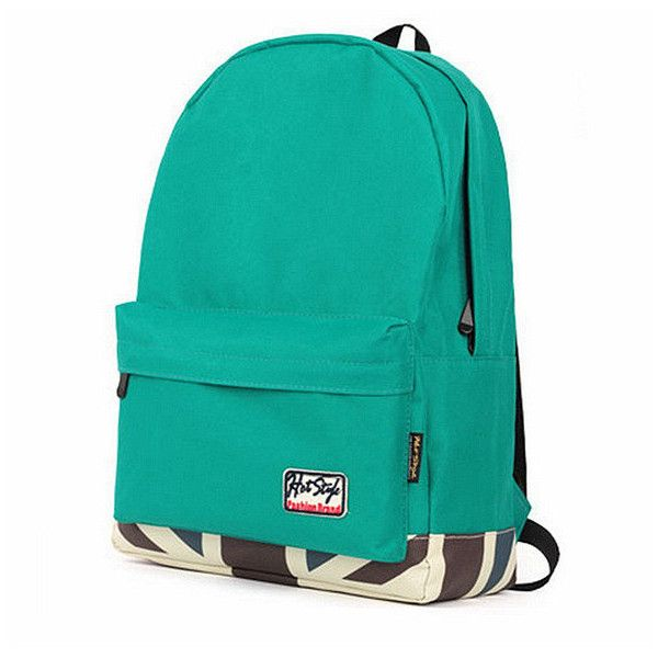 Women Candy Color College Style Canvas Backpack ($20) ❤ liked on Polyvore featuring bags, backpacks, daypack bag, zip bag, canvas knapsack, green backpack and green canvas bag
