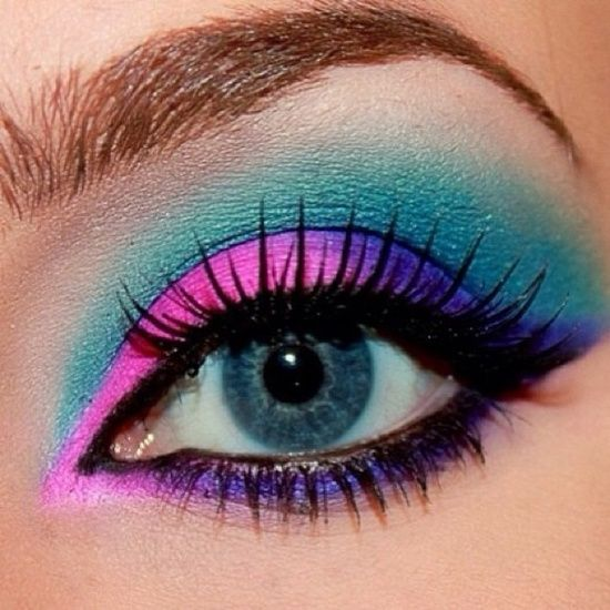 Pink, Blue, Green, and Purple Eye Make-up