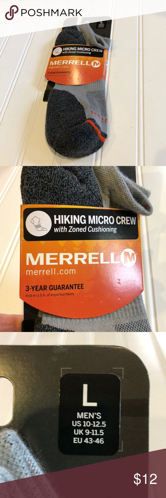 Merrell hiking micro crew socks, men's Sz 10-12.5 Zoned cushioning in heel and forefoot Reinforced in heel/toe for added durability Mesh zone on top of foot for breathability Arch band support to fight fatigue Seamless toe closure for comfort Merrell Underwear & Socks Athletic Socks