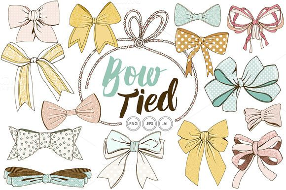 Wispy Tied Bow ClipArt, Vector, PNG by FishScraps on Creative Market