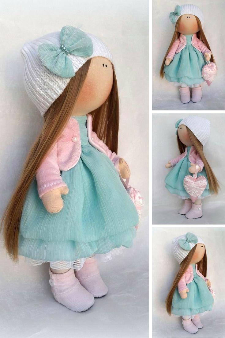 Soft doll Textile doll Handmade doll Fabric doll Turquise doll Baby doll Cloth doll Tilda doll Rag doll Interior doll Art doll