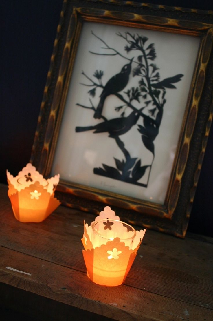 i dont think it can get easier than this cupcake liners glass votive candle holders pretty halloween lights - Pretty Halloween Decorations