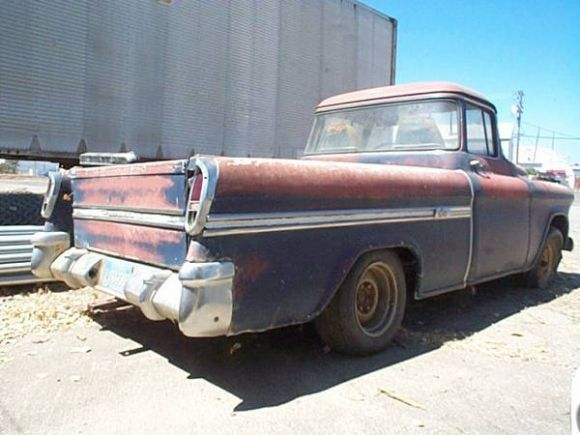 1955 chevy pickup 1955 chevrolet cameo truck project for sale rear 55 59 chevrolet task. Black Bedroom Furniture Sets. Home Design Ideas