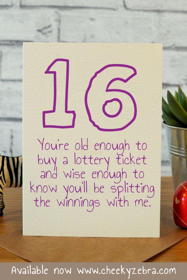 Lottery Funny Birthday Cards Birthday Cards Funny Friend 16th Birthday Card