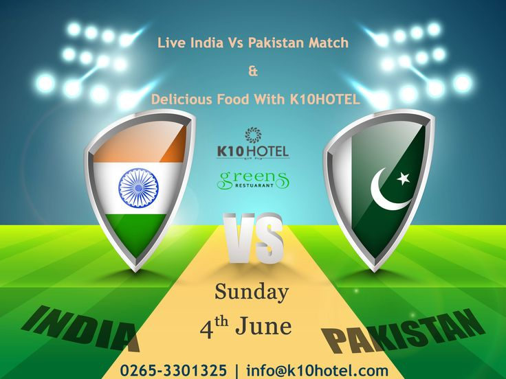 #LiveMatch #Screening - #4thJune #Live #India Vs #Pakistan #Match & Enjoy Delicious #Food and Fresh Summer Special #Mocktails With K10 HOTEL #Vadodara #Breakfast, #Lunch and #Dinner For More Information Call to - +91 89801 44666 | 0265 330 1300