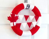 Items similar to Canada Day Yarn Wreath Red, White, Maple Leaf, Bunting Flags. Patriotic Wreath, Decor. Summer Decor. Canadian Veteran Gift. on Etsy