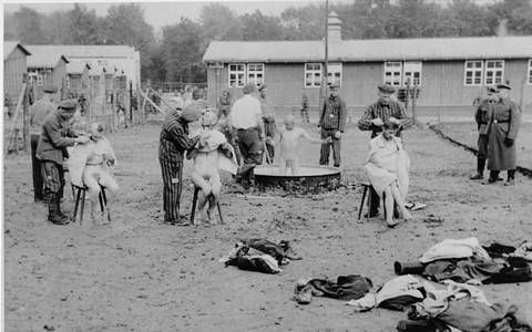 Holocaust: Photograph of the Washing and Shaving of Newly Arrived Prisoners in the Buchenwald Concentration Camp