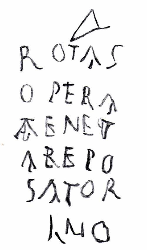 """Il """"Quadrato del Sator"""" è presente già in epoca antica, a partire almeno dal I secolo d.C., ed è testimoniato dal suo ritrovamento su una colonna nella Grande Palestra di Pompei (Na), sul muro della casa di Publio Paquio Proculo in via dell'Abbondanza"""