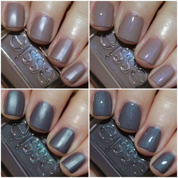 [TOP]Comfy In Cashmere Mat light mauve with purple iridescent shimmer. Thick and a little sticky, but with two coats they do cover decently. I also like that they don't highlight my nail ridges a ton. I like this one matte okay, but with a top coat it's much better!  [BOTTOM] Coat Couture is a deep purple/grey with blue shimmer. Gorgeous shade, I really like this one matte. The same formula issues occurred with this one. It's not great but not impossible to work with. This was two coats.