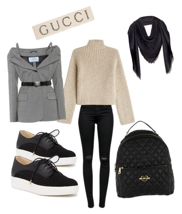 """""""Friday"""" by madisonkiss on Polyvore featuring J Brand, Rosetta Getty, Prada, Dr. Scholl's, Love Moschino, Gucci and MCM"""