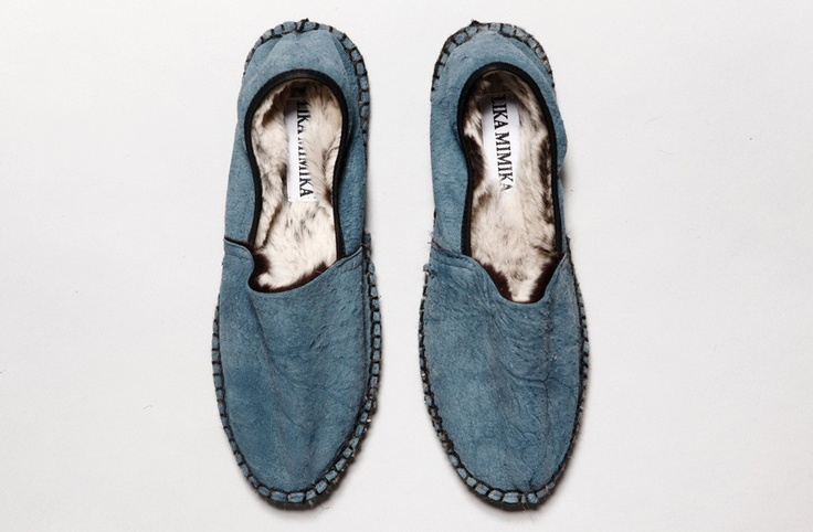 Classic blue espadrilles with warm fuzz inside? Yes, please! But again, why the poor rabbits?