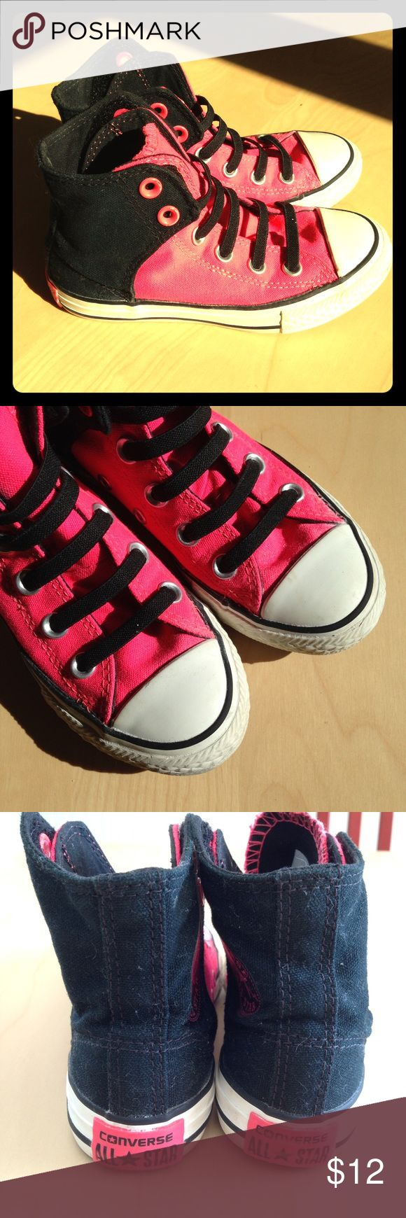 Pink & black Hi top slip on Converse All Stars EUC. Bright fluorescent pink and black with black elastic laces. Velcro closures. Some slight scuff marks, but very few. Soles are perfect! Converse Shoes Sneakers
