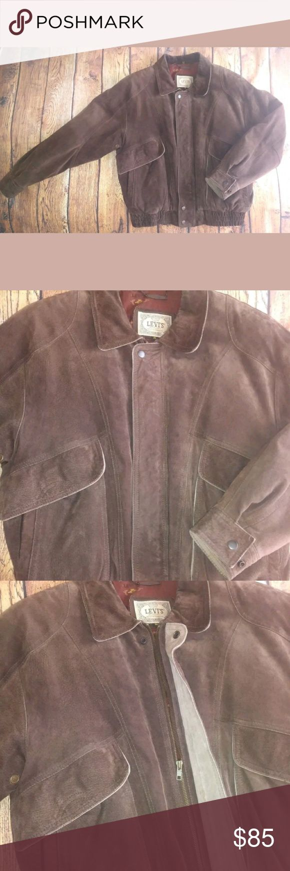"Vtg Levi's Western Brown Suede Men's Jacket Medium Vintage Levi's Western Wear Brown Suede Leather Bomber Jacket Men's Medium  Pre-owned in very nice condition. Light wear / lightening on outer elbows. All zippers, snaps, and closures work well. Measurements:Neck edge to bottom of sleeve cuff: 32""Chest width from armpit to armpit: 26""Length from back neck edge to bottom hem: 26"" BIN A2 Levi's Jackets & Coats Bomber & Varsity"