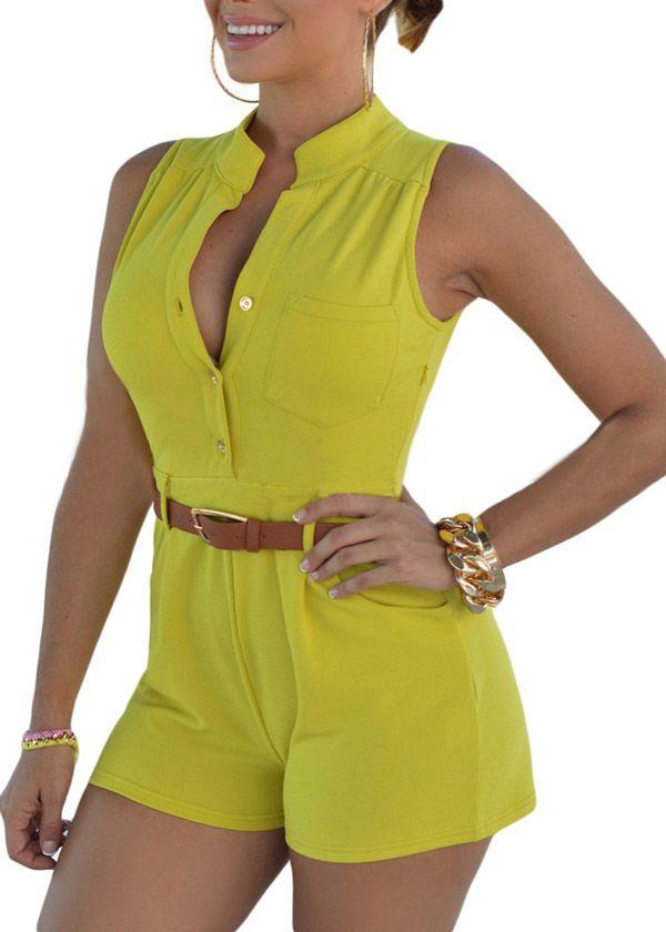 Compre Macaquinho Curto com Cinto - 5 cores | UFashionShop
