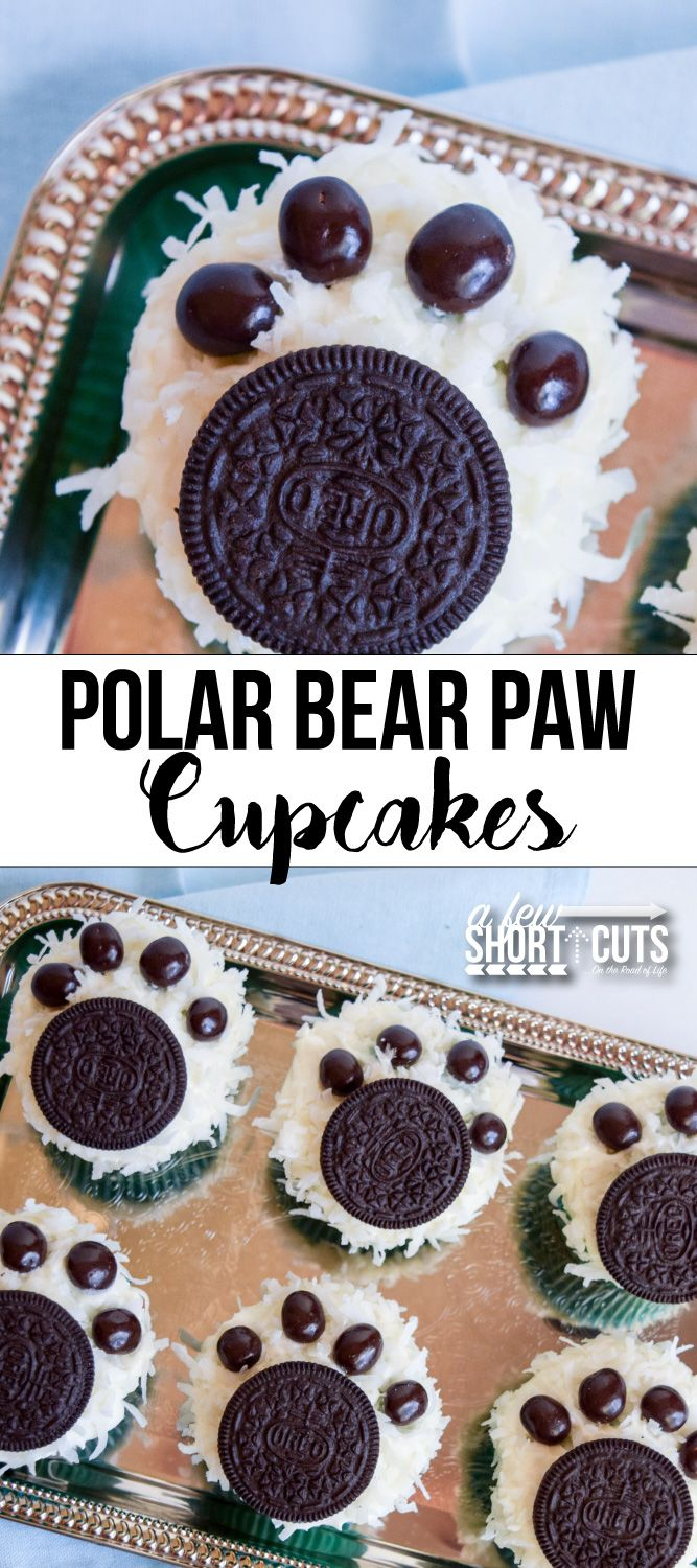Celebrate the chilly weather with this fun Polar Bear Paw Cupcakes Recipe. Such a cute simple decorating idea for a party or just for fun!
