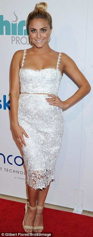 Cassie Scerbo attends the Thirst Project event in a two-piece white lace ensemble http://dailym.ai/1yNBWln