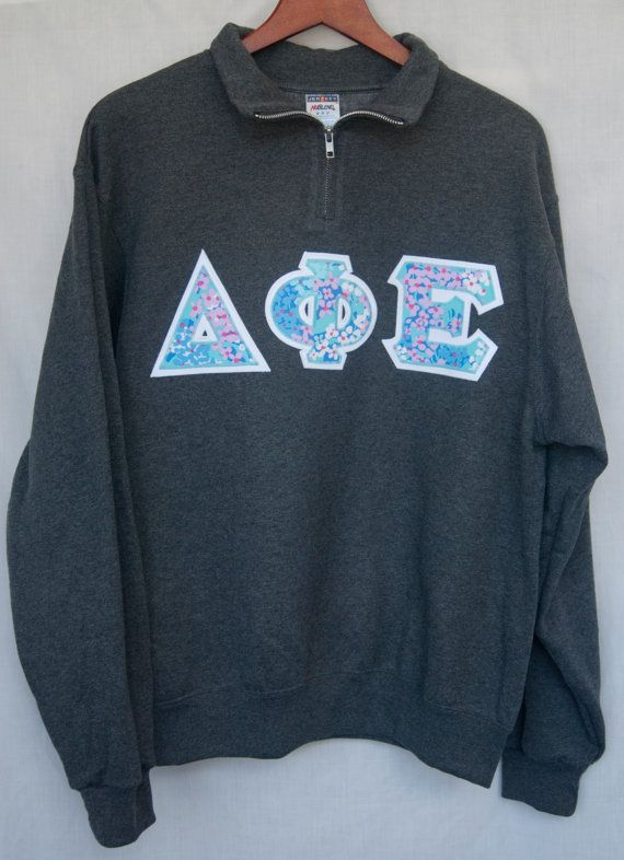 Delta Phi Epsilon on Charcoal Gray Quarter Zip With Lilly Pulitzer #UShop #Customizable