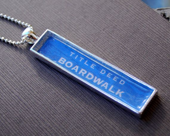 Boardwalk - Vintage Monopoly Game Piece - Pendant Necklace Jewelry