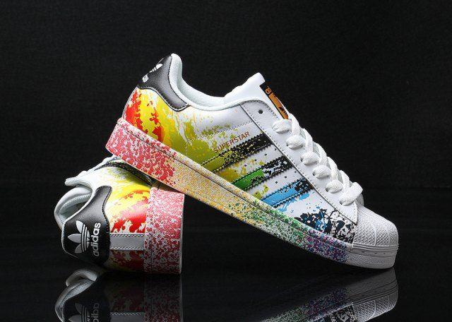 Mens Womens Adidas Superstar Pride Pack Paint Rainbow D70351