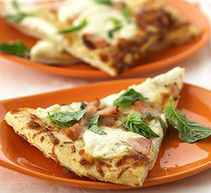 White Pizza with smoked turkey.