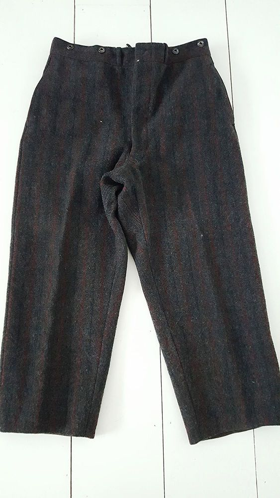 Vintage 60s Woolrich Wool Hunting Pants Size 34 x 26 Gray Stripe Mens Outdoors #Woolrich #Hunting