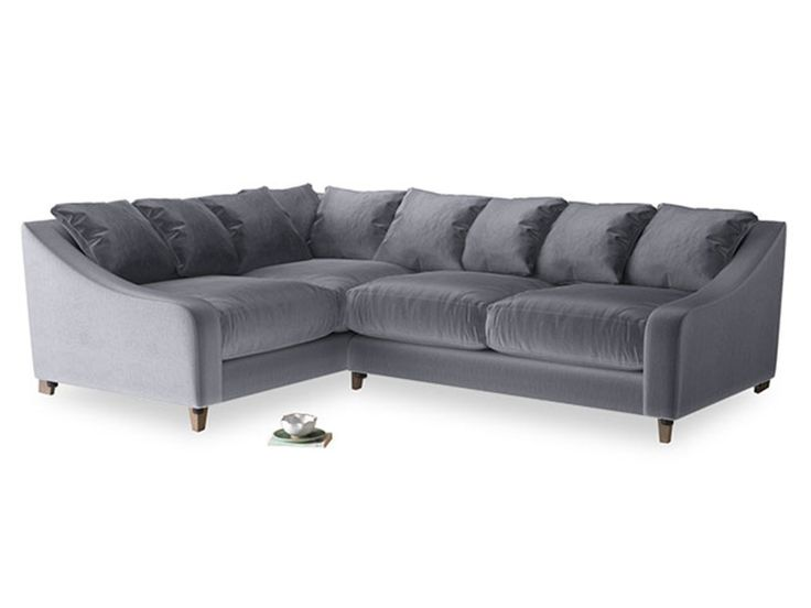 Large Left Hand Oscar Corner Sofa in Armour Plush Velvet 141190 Loaf