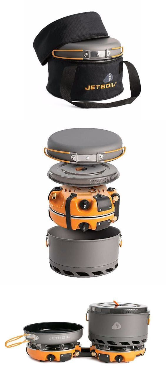 "The Jetboil Genesis Base Camp 2 Burner System is a group cook stove for meal time at base camp. Included with the dual burners is a 10"" fry pan, a 5L FluxPot with lid, and a carrying case to keep them all together while traveling. This can quickly get 1 l"