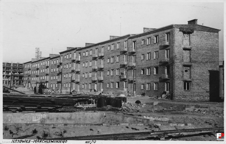 1952 , Osiedle Marchlewskiego na Koszutce.  #Katowice #Koszutka #budowa #historia