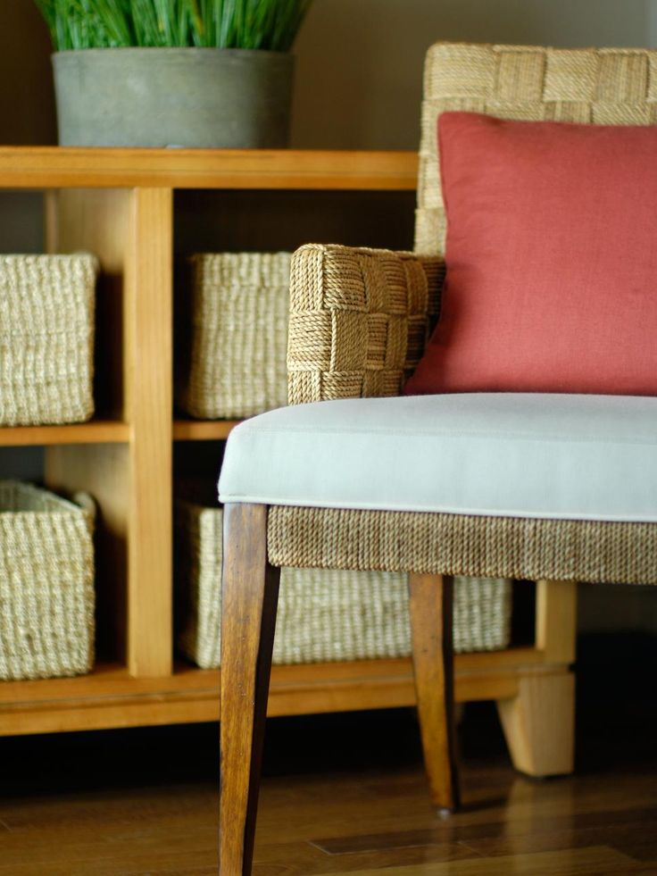 As stylish as they are smart, rattan storage baskets echo the texture of Asian-inspired office chairs.