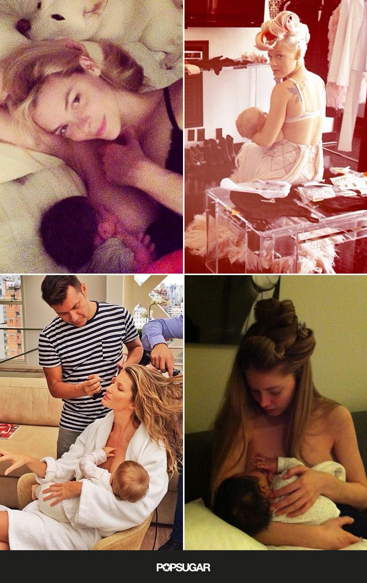 While the women in your new-moms class are sharing pics of themselves and their nursing tots with family and friends, celebrity moms are sharing theirs with millions of fans around the world.