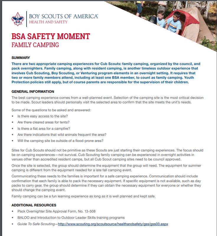 BSA Safety Moment - Family Camping