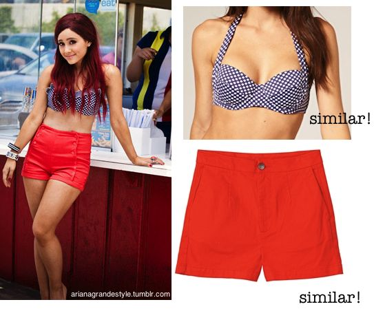 Requested Ariana at a photoshoot, wearing a similar bikini top to this Asos Spotted Bikini and similar shorts to these Red High Waisted Shorts from Monki.