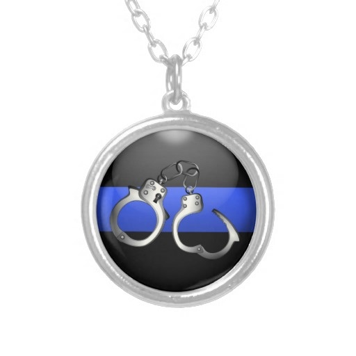Pendant - Thin Blue Line - Handcuffs - - Please re-pin and help promote support for the men and women (and their families) who live and work on the thin blue line. #ThinBlueLineGraphics #ThinBlueLine #PoliceJewelry