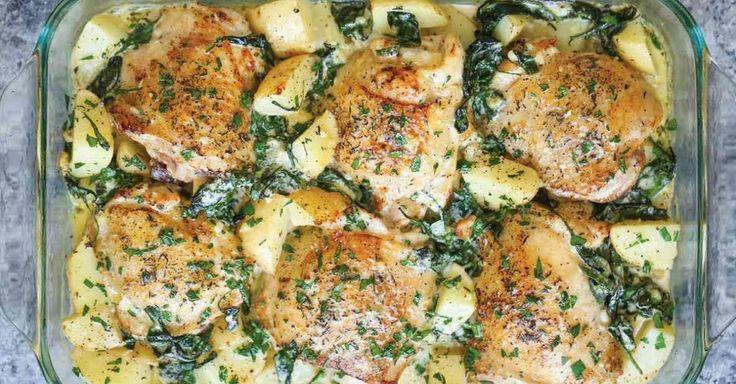 Recept, u kterého maso, přílohu i omáčku zapečete společně v jedné míse. Kuřecí stehna jsou pro pečení vhodné, protože zůstávají šťavnaté a v kombinaci s bramborami a omáčkou tvoří výživné jídlo, které na dlouho zasytí a hlavně - chutná. Čas přípravy: 1 h Porce: 6 ingredience Kuře a br