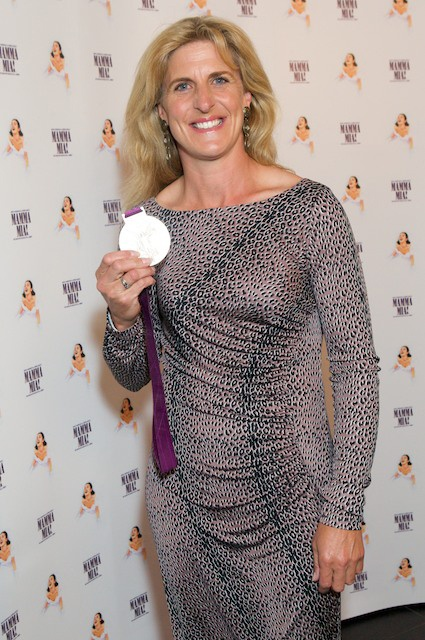 Tina Cook from team GB showing her Olympic gold medal proudly! Do you have any pins of horsey Olympians showing off their medals?