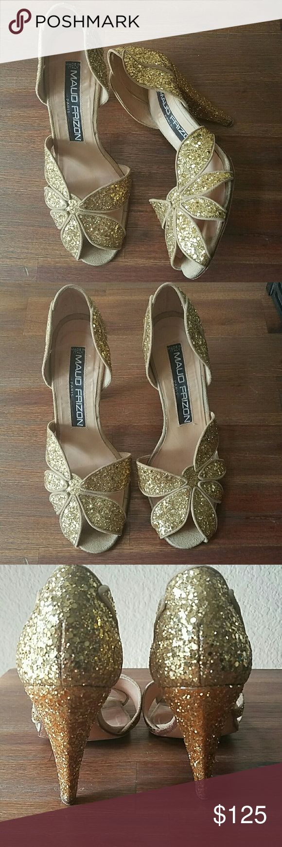 Maud Frizon Paris glam gold peeptoe heels Vintage chic, made in Italy. There's nothing on the internet quite like these! Pair these with boyfriend jeans and a white blousy tee! Please see all photos for wear, I'm happy to provide more detail/pics as well. Maud frizon Shoes Heels