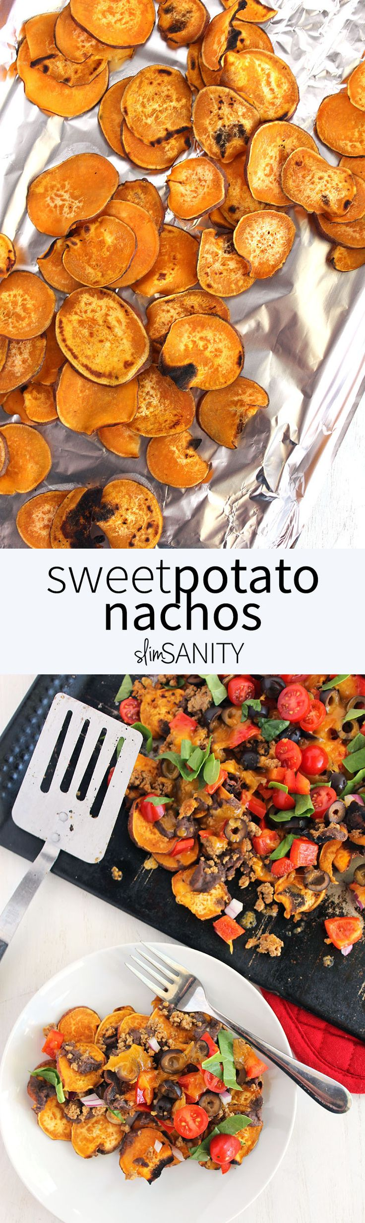 Sweet potato nachos loaded with taco meat, veggies and cheese. The perfect healthy weekend treat! | slimsanity.com