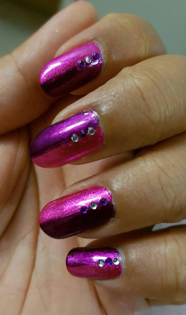 Stardust nails #pink #purple #nails #my nail art #pretty #trendy #stones