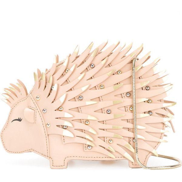 Kate Spade studded hedgehog bag (£375) ❤ liked on Polyvore featuring bags, handbags, shoulder bags, beige, kate spade handbag, studded leather purse, studded shoulder bag, studded leather handbags and pink studded handbag