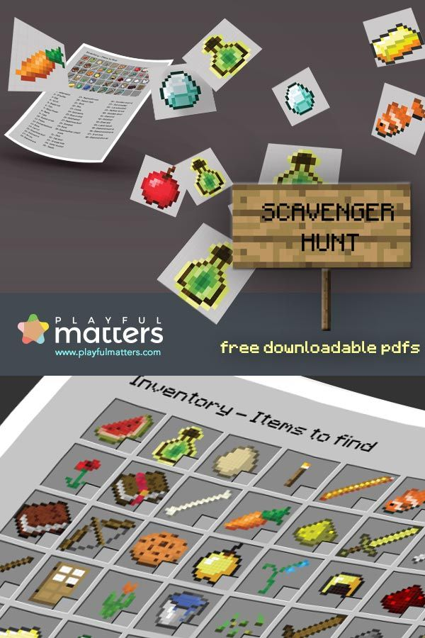 If you are having a #minecraft #birthday #party try, entertain kids with a scavenger hunt. 48 minecraft items for kids to find. Download the pdfs in high resolution.