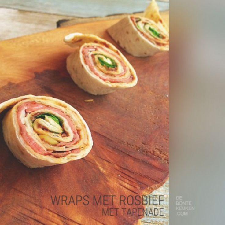 Rosbief wrap rolletjes...  TIP: Vervang de rosbief eens voor carpaccio!  (wraps, tapenade, rosbief, carpaccio, sla, pijnboompitjes, Parmezaanse kaas, makkelijk, koken, recept, borrel, hapje,snack, lunch)