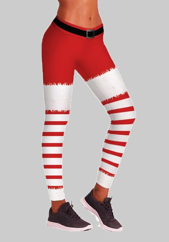 51e9bd5405cb65 Red Striped Print Santa Workout Yoga High Waisted Sports Long Legging -  Leggings - Bottoms